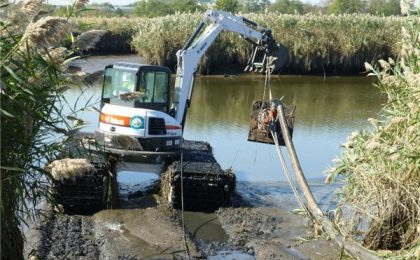 Marsh Buggy Laying Cables